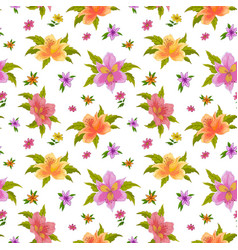 Floral seamless background alstroemeria vector