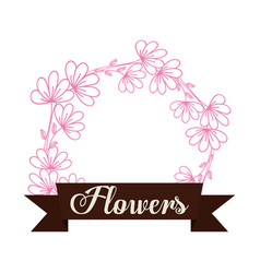Flowers decoration spring label vector