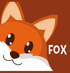 fox cute animal cartoon vector image