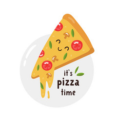 funny tasty slice pizza colorful vector image