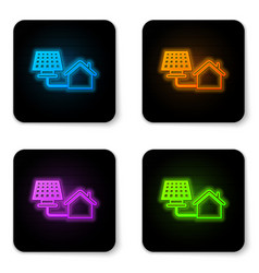 glowing neon house with solar panel icon isolated vector image
