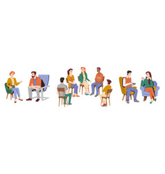 group therapy psychological support and care vector image