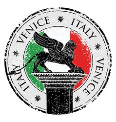 Grunge stamp of Venice flag of Italy inside vector image