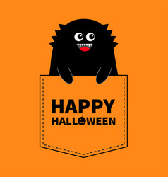 Happy halloween black monster silhouette in the vector