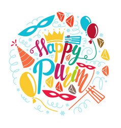 Happy purim greeting card vector