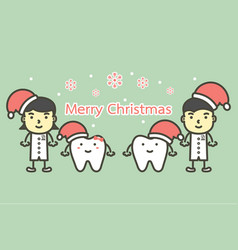 happy tooth and dentist wearing santa claus hat vector image