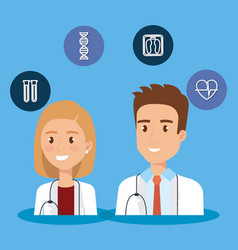 healthcare icons and medical staff characters vector image