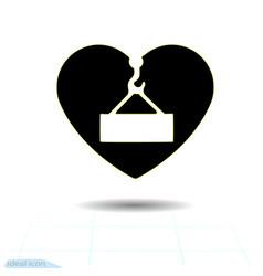 Heart black icon love symbol danger overhead vector