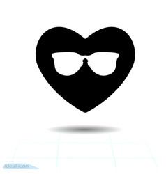 Heart black icon love symbol the silhouette vector