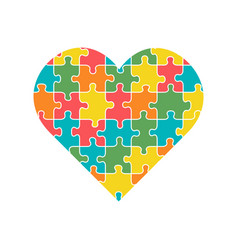 Heart with multicolored puzzle pieces inside vector