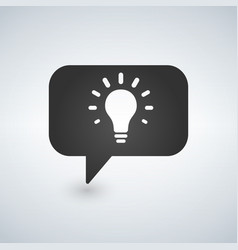 Idea lamp with speech bubbles simple icon vector