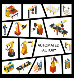 isometric automated factory elements concept vector image