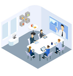isometric business coaching concept vector image