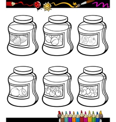 jams in jars set cartoon coloring book vector image