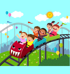 kids having fun on roller coaster vector image