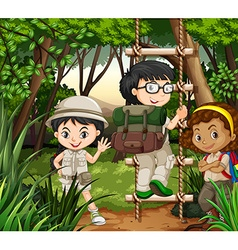 Kids hiking in the forest vector image
