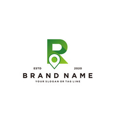 Letter r map pin logo design vector