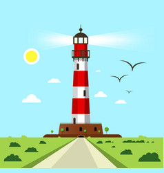 lighthouse - beacon with landscape vector image
