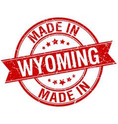Made in wyoming red round vintage stamp vector