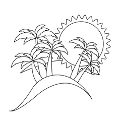 monochrome contour with beach background vector image vector image