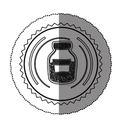 monochrome sticker round frame with half bottle vector image