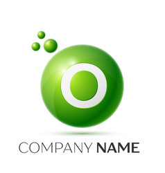 O letter splash green dots and bubbles number vector