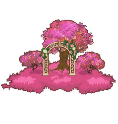 ornate archway in the pink forest vector image