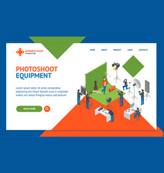 photo studio interior landing web page template vector image