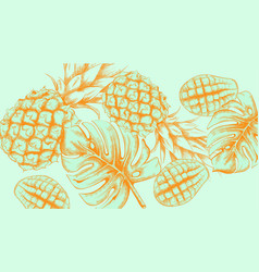 pineapple tropic summer pattern line arts exotic vector image