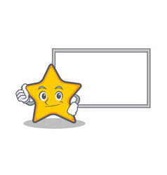 Pose with board star character cartoon style vector