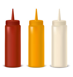 realistic detailed bottle set for sauce mustard vector image