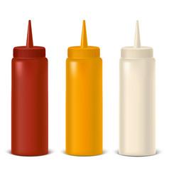 Realistic detailed bottle set for sauce mustard vector