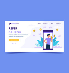 Refer a friend landing page with big smartphone vector