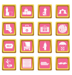 Refugees problem icons pink vector