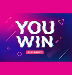 Retro game glitch win score background video game vector