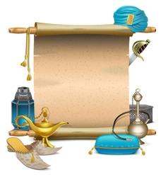Scroll with eastern accessories vector