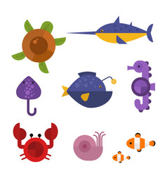 sea animals marine life character vector image
