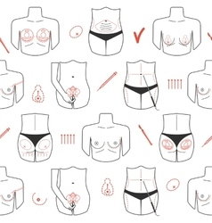 Seamless pattern of body plastic surgery with line vector image