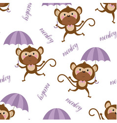 seamless pattern with cartoon monkey vector image