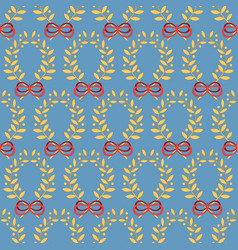 Seamless pattern with laurel wreaths and bows vector