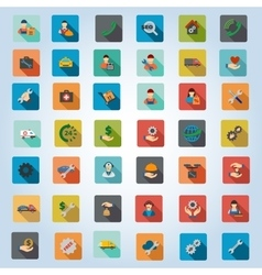 Service Rounded Flat Longshadow Icon Set vector