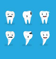 set healthy human teeth and vector image