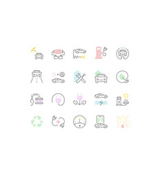 set line icons electric vehicle vector image