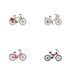 set of bike realistic symbols with vintage vector image
