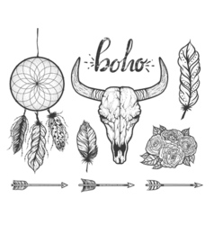 Set of Boho elements Bull skull native Americans vector