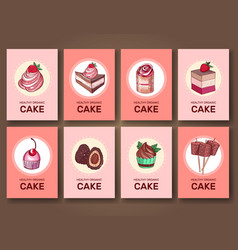 set of brochures cards with sweets vector image