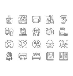 set sleep line icons aroma lamp bed pillow vector image