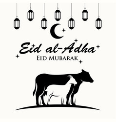 sheep and cow for muslim holiday eid al-adha vector image