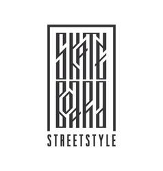 Skateboarding ethnic stylized typography vector