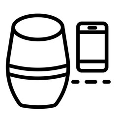Smart speaker smartphone icon outline style vector